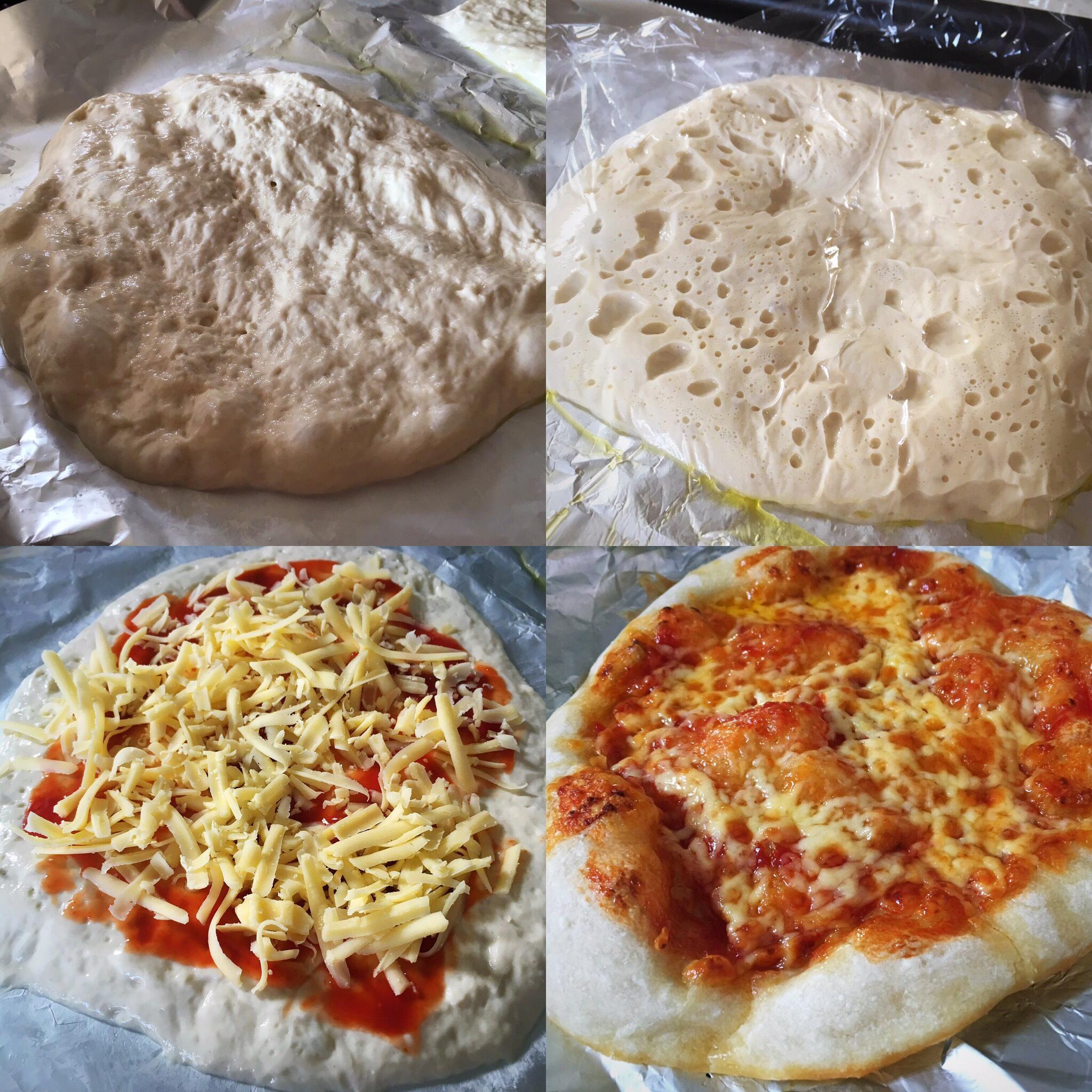 quatre photos illustrant la préparation d'une pâte à pizza